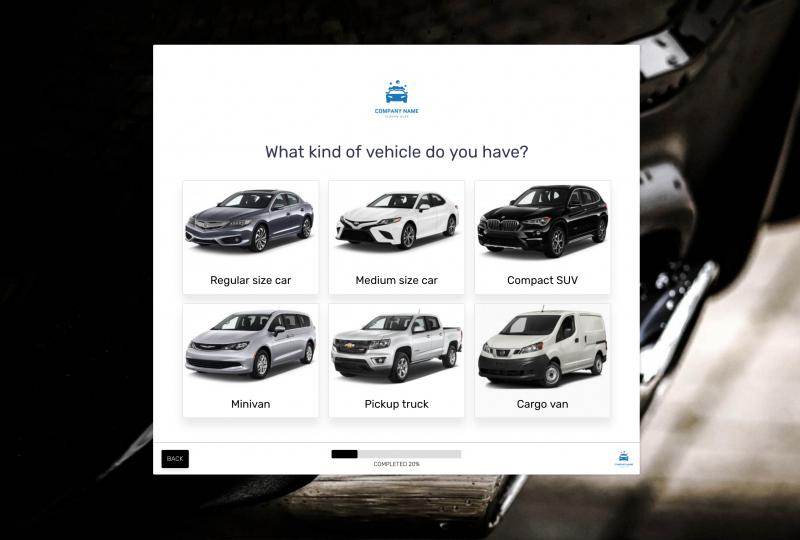 Car wash form template